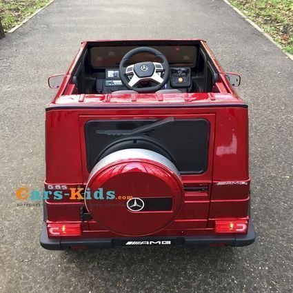 Электромобиль Mercedes-Benz G65 AMG красный (АКБ 12v 10ah, колеса резина, сиденье кожа, пульт, музыка)